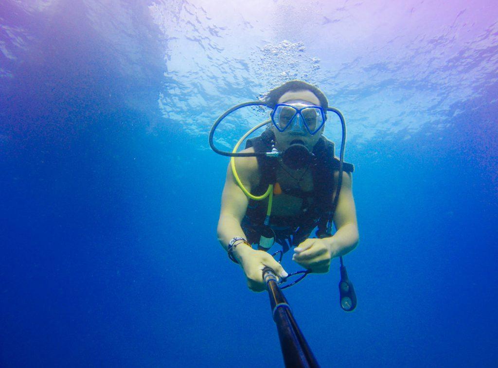 selfie pod wodą